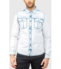 camisa ellus bleach denim doble bolsillo celeste - calce regular