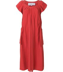 carven ruched detail straight dress - red