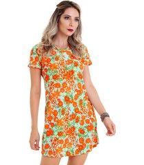 vestido manola semi rodado laranja multicolorido verde