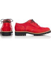 skórzane półbuty zapato 258 czerwony retro