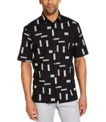 alfani men's classic-fit stretch embroidered shirt, created for macy's