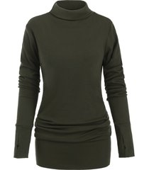 turtleneck long sleeves mini solid dress