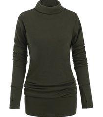 turtleneck long sleeves mini solid dress