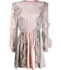 alberta ferretti panelled ruffle mini dress - pink