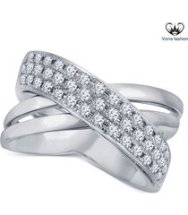 10k white gold 925 silver round cut diamond criss-cross engagement fashion ring