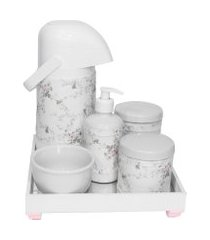 kit higiene espelho completo porcelanas, garrafa e capa rosa quarto bebê menina