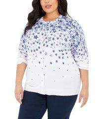 karen scott plus size star-print cardigan, created for macy's