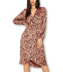 ax paris leopard print v-neck wrap dress