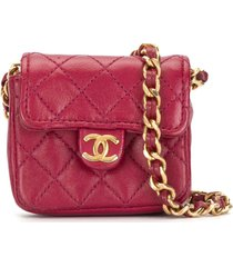 chanel pre-owned 1990s mini diamond quilted chain pouch - pink