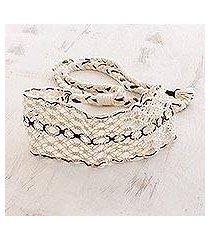 cotton macramé headband, 'spiced vanilla' (costa rica)