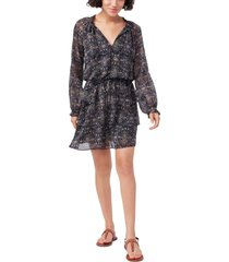 women's paige calla print tiered long sleeve silk dress, size large - black
