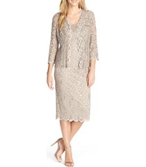 women's alex evenings lace cocktail dress with jacket, size 8 - beige