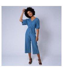 macacão jeans pantacourt nuara feminino