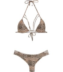 amir slama printed triangle top bikini set - brown