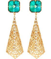glass crystal cone shaped drop earrings