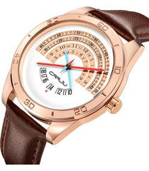 crrju men's luxury business casual orologio da polso al quarzo in pelle orologi militari per gli uomini