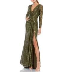 mac duggal sequin v-neck gown