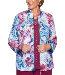 alfred dunner petite autumn harvest printed quilted jacket