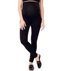 women's ingrid & isabel ponte knit skinny maternity ankle leggings, size 6 - black
