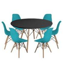 kit mesa jantar eiffel 120cm preta + 6 cadeiras charles eames - turquesa