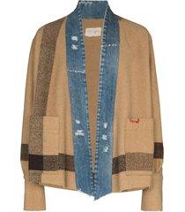 greg lauren blanket stripe-pattern jacket - neutrals