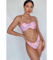 mosaic tile print bandeau bikini, pink