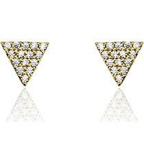 orecchini a lobo in oro giallo e pave di zirconi triangolo per donna