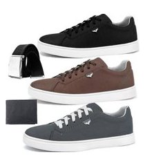 kit sapatenis dhl calçados neway sw preto, marrom e chumbo com 1 cinto e 1 carteira