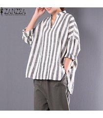 zanzea resorte más el tamaño m 5xl algodón de lino de la blusa de las mujeres collar del soporte de cuello en v flojos irregulares camisas de rayas retro holgada tops raya -beige