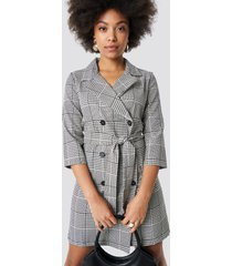 trendyol checkered jacket dress - grey