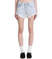 alanui shorts in cyan cotton