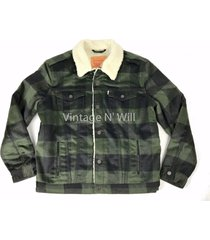 levis jean mens olive green/black buffalo plaid check sherpa trucker jacket wool