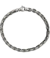 men's link bracelet in black rhodium-plated sterling silver