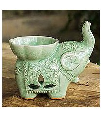 celadon ceramic oil warmer, 'time to relax' (thailand)