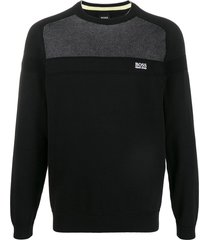 boss panelled sweatshirt - black