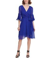 dkny split bell-sleeve wrap-look dress