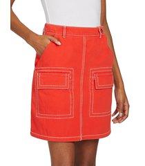 kenzo women's patch pocket a-line skirt - medium orange - size 36 (4)