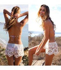 mujer pantalones de playa mini shorts de encaje sexy pantalones-blanco