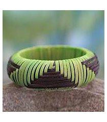 handcrafted rattan bangle bracelet, 'olive hills' (india)