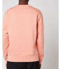 acne studios men's face logo crewneck sweatshirt - pale pink - xl - pink