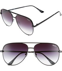 quay australia high key 62mm oversize aviator sunglasses in black fade to clear at nordstrom