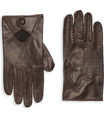 button-cuff leather gloves
