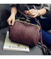 donna vintage borsa a tracolla in pelle pu a secchiello con chiusura a cerniera