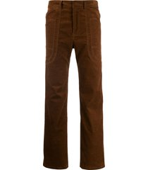 asai branch work straight-leg trousers - brown