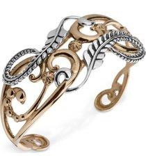 american west two-tone fancy openwork cuff bracelet in sterling silver & brass