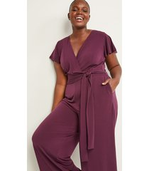 lane bryant women's faux-wrap flutter sleeve jumpsuit 26/28 winetasting