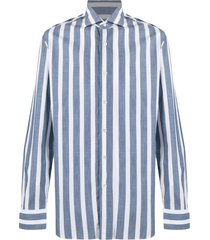 barba vertical-stripe shirt - blue