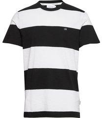 block stripe t-shirt t-shirts short-sleeved svart calvin klein