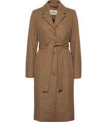 dion coat wollen jas lange jas bruin modström