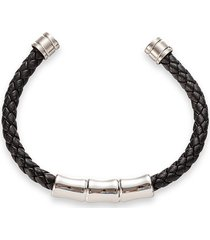 eye candy la men's mateo titanium & leather cuff bracelet